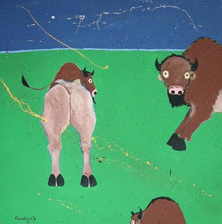 Buffaloes 1981 60x60 Huge Original Painting - Randy Lee White