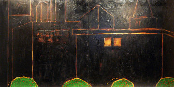 Cityscape 1992 48 X 48 Each Diptych 48x96 Overall  Huge Original Painting - Randy Lee White