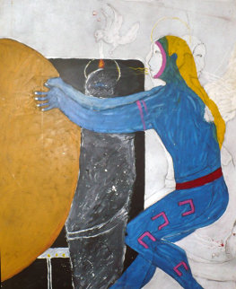Possession with Broken Wing 1989 30x40 Original Painting - Fritz Scholder