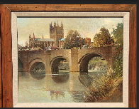 Hereford Cathedral Old Bridge England  1977 32x28 Original Painting by Albert Whitlock - 1