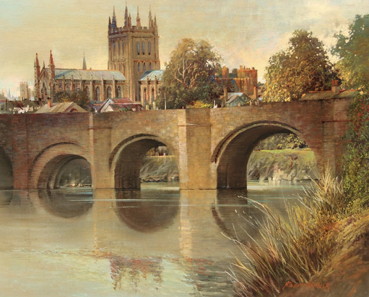 Hereford Cathedral Old Bridge England  1977 32x28 Original Painting by Albert Whitlock
