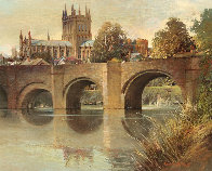 Hereford Cathedral Old Bridge England  1977 32x28 Original Painting by Albert Whitlock - 0