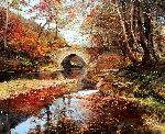 Arched Bridge 1975 30x26 Original Painting - Albert Whitlock