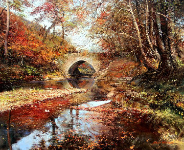 Arched Bridge 1975 30x26 Original Painting - Albert Whitlock