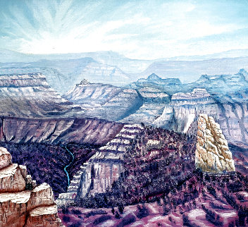 Mount Hayden From the Point Imperial North Rim of the Grand Canyon 1986 25x31 Original Painting - Armin Widmer