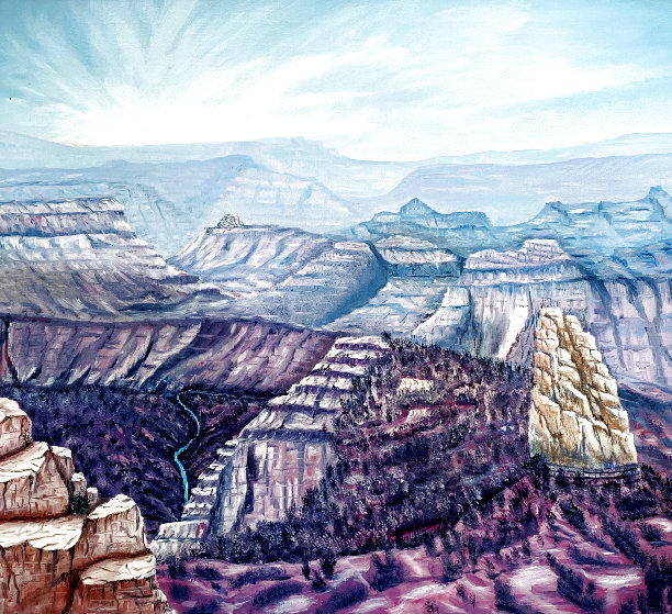 Mount Hayden From the Point Imperial North Rim of the Grand Canyon 1986 25x31 Original Painting by Armin Widmer