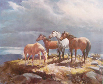 Range Horses AP 1985 Limited Edition Print by Olaf Wieghorst