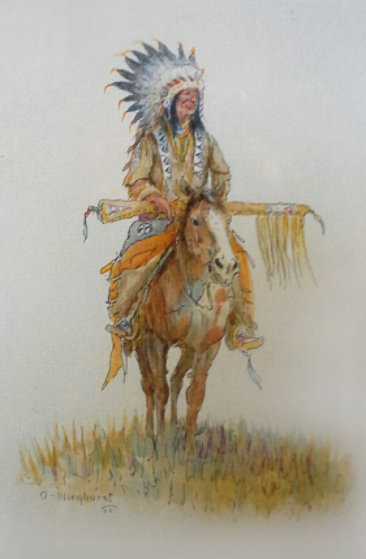 Indian Chief on Horse Watercolor Watercolor by Olaf Wieghorst