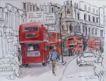 London Theater District 9x11 Drawing by Gregory Wilhelmi