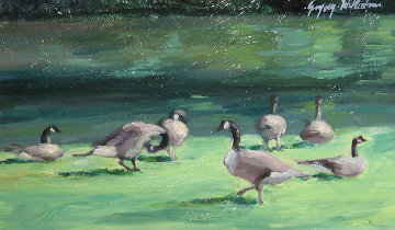 Geese in City Park 7x13 Original Painting - Gregory Wilhelmi