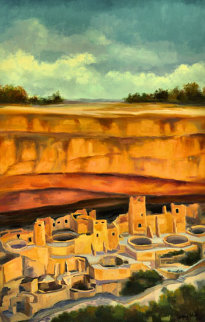 Afternoon At Chaco Canyon 2006 39x27 Original Painting by Gregory Wilhelmi