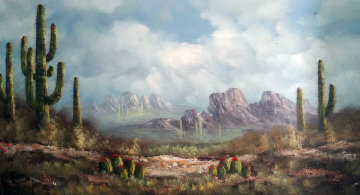 Untitled Desert Landscape 2005 30x52 Original Painting - Frank Wilson