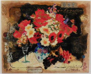 Flowers With a Glass of Wine Embellished Limited Edition Print by Tanya Wissotzky