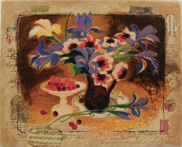 Blue Irises Embellished on Wood Limited Edition Print - Tanya Wissotzky
