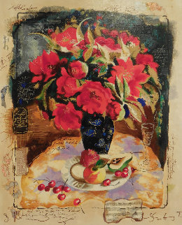 Red Bouquet Embellished Limited Edition Print by Tanya Wissotzky