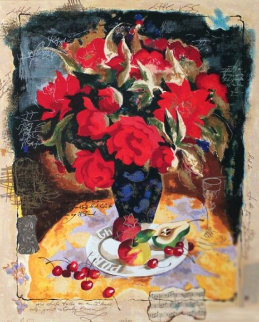 Red Bouquet Embellished with fabric and lace Limited Edition Print - Tanya Wissotzky