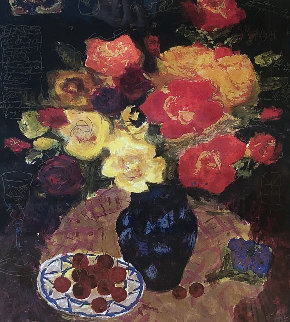 Flowers With Cherries 2002 Limited Edition Print - Tanya Wissotzky