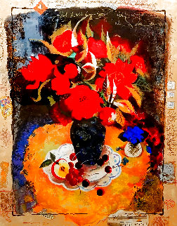 Red Flowers in the Dark II Limited Edition Print - Tanya Wissotzky