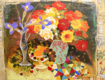 Red Flowers with Glass of Wine 2001 Limited Edition Print by Tanya Wissotzky