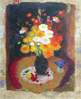 Yellow Bouquet AP Embellished Limited Edition Print - Tanya Wissotzky