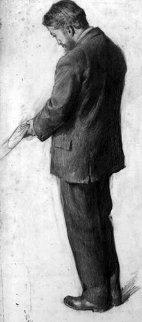 Self Portrait Drawing 1900 15x7 Drawing - William Balfour Ker