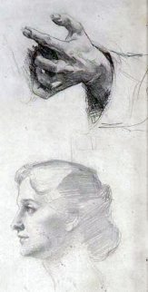 Woman and Hands Drawing 1904 22x10 Drawing by William Balfour Ker