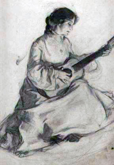 Woman with Guitar 1902 11x14 Drawing by William Balfour Ker