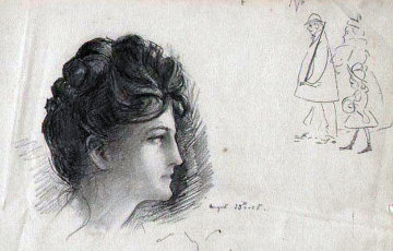 Woman with Cartoon Drawing 1897 Drawing - William Balfour Ker