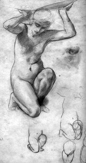 Woman Holding Up the World Drawing 1999 15x11 Drawing by William Balfour Ker