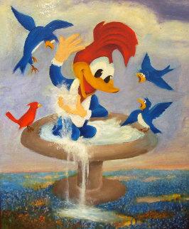 Woody Birdbath 1979 18x22 Original Painting - Walter Lantz