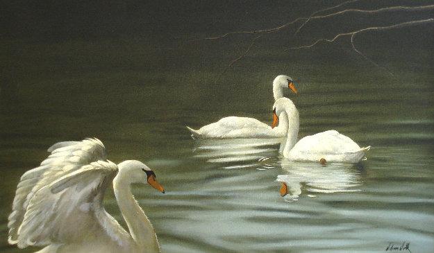 Swans 1984 30x40 Original Painting by William Wolk