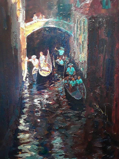 Dark Canal 2001 71x42 Original Painting by Alan Wolton