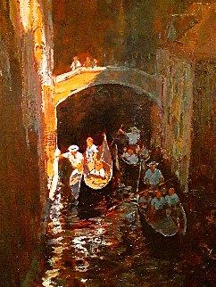 Dark Canal 2001 71x42 Huge Original Painting - Alan Wolton