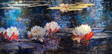 Water Lily Flowers 2000 41x68 Huge Original Painting - Alan Wolton