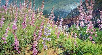 Wild Foxgloves II 52x74 Original Painting - Alan Wolton