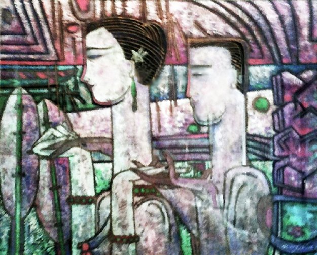 Meeting 1987 35x42 Original Painting by Adrian Wong Shue