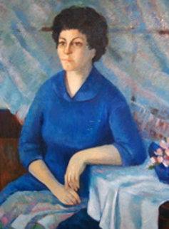 Portrait of a Lady 1966 52x40 Huge Original Painting - Barbara Wood