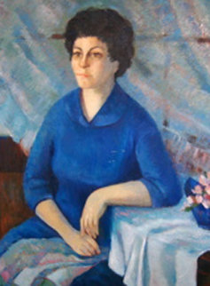 Portrait of a Lady 1966 52x40 Original Painting by Barbara Wood