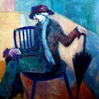 Woman With Umbrella 1985 58x58 Huge Original Painting - Barbara Wood
