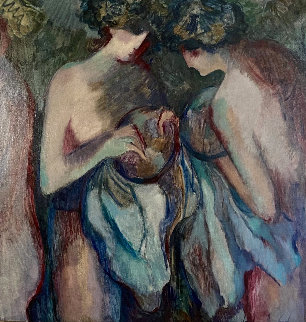 Blue Nudes 41x41 Original Painting - Barbara Wood