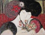 Chi Cho  2000 17x13 Original Painting - Barbara Wood