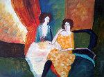 Untitled Two Seated Women 24x36 Original Painting - Barbara Wood