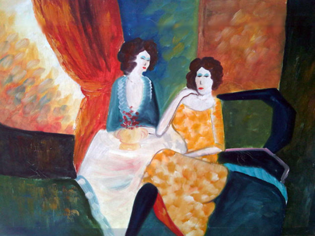 Untitled Two Seated Women 24x36 Original Painting by Barbara Wood