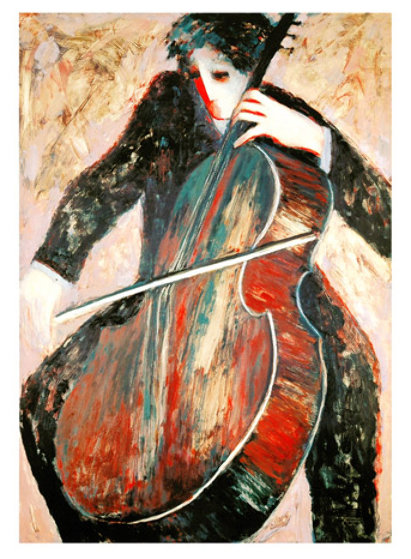 Cellist and Violinist, Suite of 2 2003 Limited Edition Print by Barbara Wood