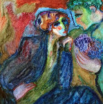 Romance 1980 44x44 Original Painting - Barbara Wood