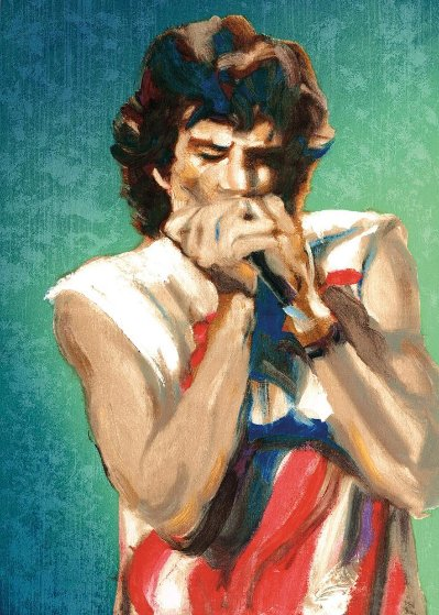 Mick with Harmonica Ii, Emerald 2004 Limited Edition Print by Ronnie Wood (Rolling Stones)