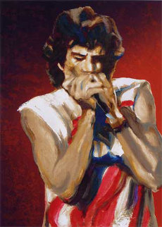 Mick With Harmonica I (Ruby) AP Limited Edition Print by Ronnie Wood (Rolling Stones)