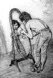 Keith Richards in Mirror 1988 Limited Edition Print by Ronnie Wood (Rolling Stones)