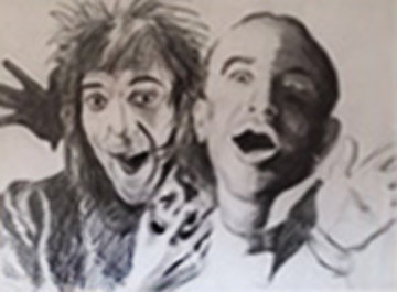 Rod And Al Drawing 46x45  Huge Drawing - Ronnie Wood (Rolling Stones)