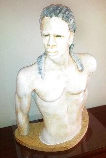 Untitled (African Nouveau Male Torso) Stoneware Sculpture 2004 31 in Sculpture - Woodrow Nash